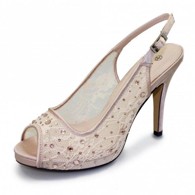 Lunar Porto FLR273 Nude Mesh Peep Toe Sling Back Shoe with Diamontes