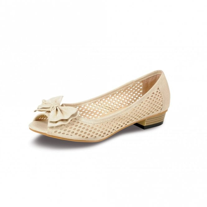 Lunar Kim FLC270 Beige Peep Toe Court Shoe