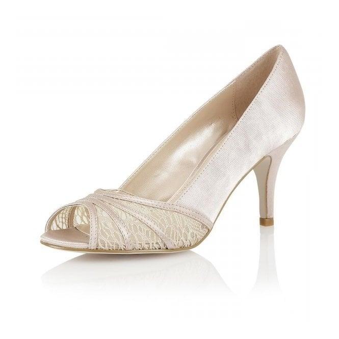 Lotus Tina Nude Satin & Mesh Open-Toe Shoes
