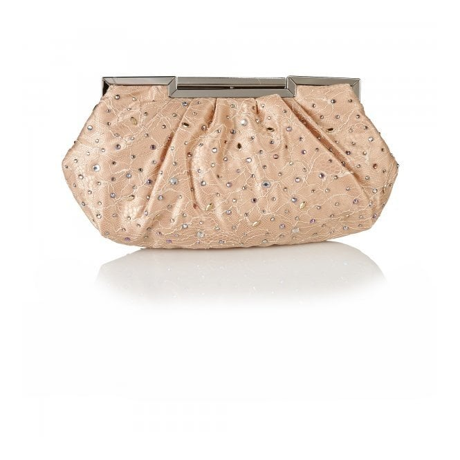 Lotus Magena Nude Satin Clutch Bag