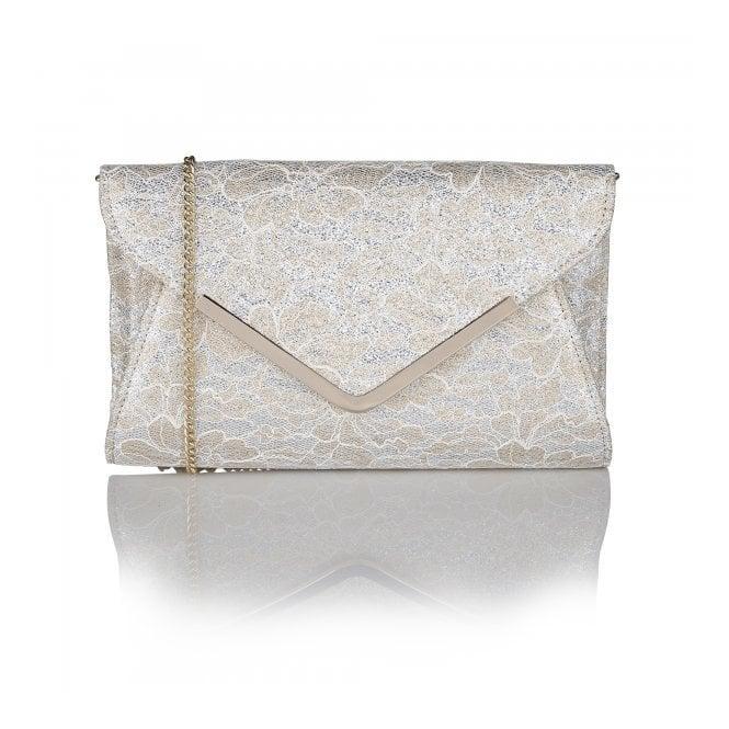 Lotus Catori Gold Printed Printed Satin Clutch Bag