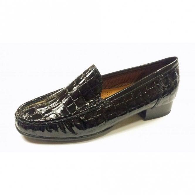 Jenny 50137-01 Black Patent Croc Loafer Shoe