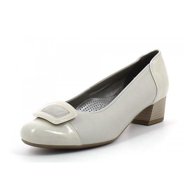 Ara 35859-05 Beige Patent Toe Cap Court Shoe