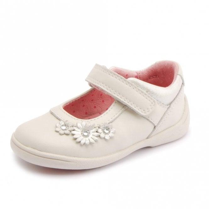 Start-rite Super Soft Daisy Stone White Leather Girl's Shoe