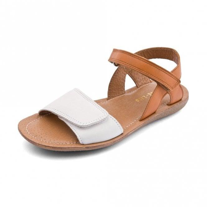Start-rite Vanda Cream / Tan Leather Girl's Velcro Sandal