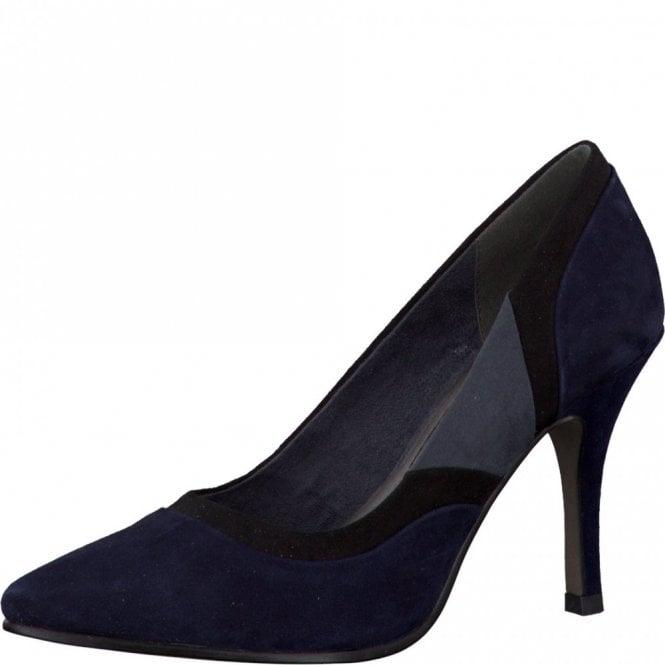 Tamaris 22429-25 Navy Multi Suede Court Shoe