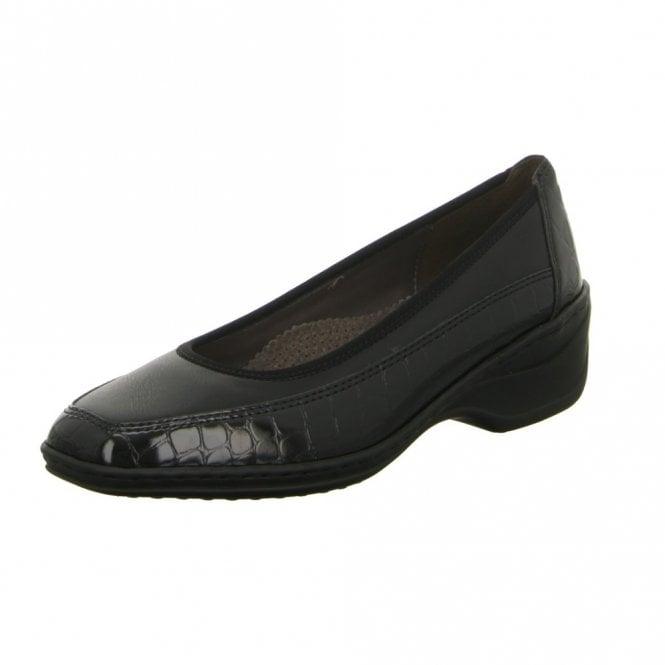 Jenny 61148-01 Black Patent Croc Court Shoe