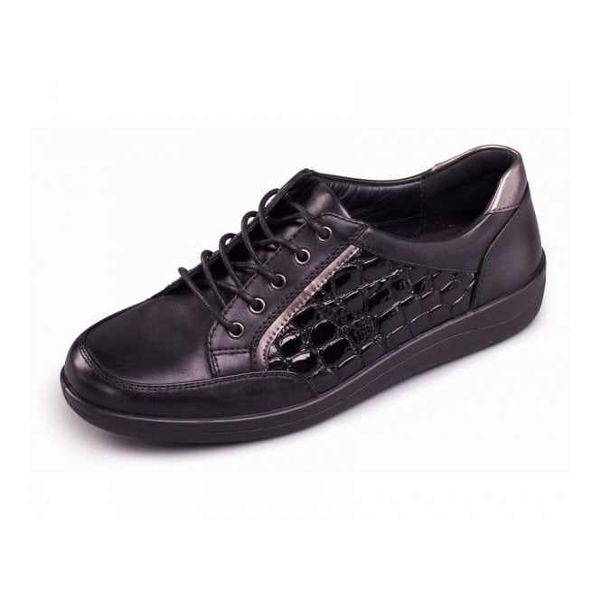 Padders Atom Black Leather and Patent Croc Shoe