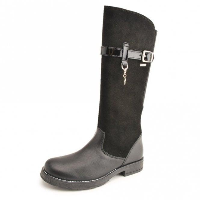 Start-rite Aqua Feline Black Leather Waterproof Girls Boot