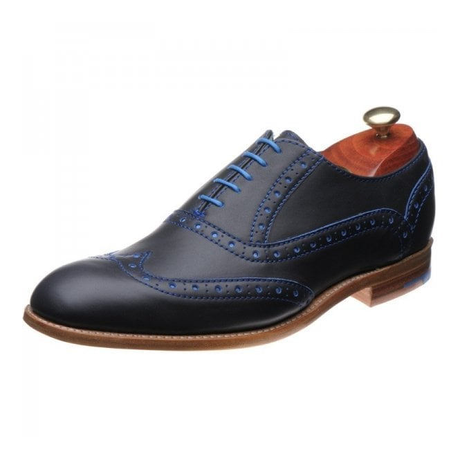 Barker Grant Navy / Classic Blue Calf Leather Lace Up Brogue Shoe