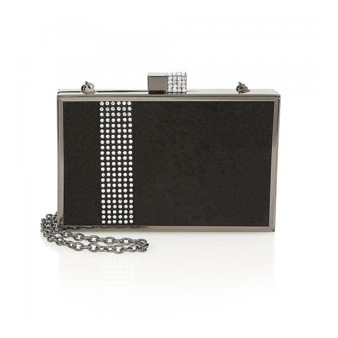 Lotus Syrah Black Microfibre with Diamontes Clutch Bag