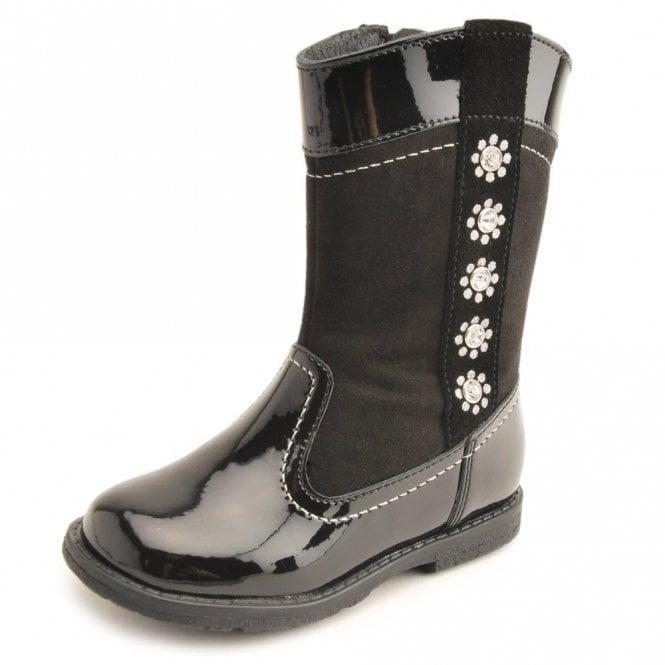 Start-rite Wonderland Black Patent / Suede Girls Boot