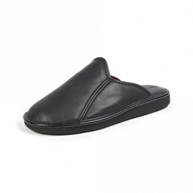 Moshulu Douglas 3 Black Leather Mens Slipper