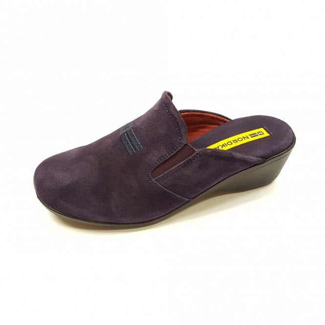 Nordikas 8192 Afelpado Purple Suede Leather Wedge Mule Ladies Slipper