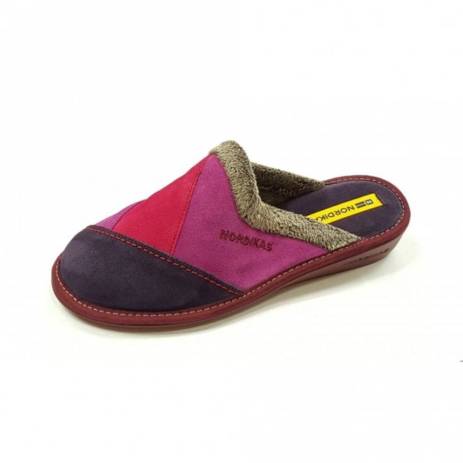 Nordikas 4507 Afelpado Purple Multi Suede Leather Mule Ladies Slipper