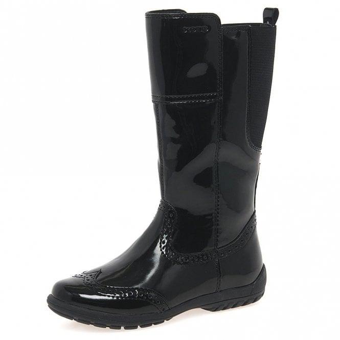 Geox Crissy J5415A Black Patent Girls Brogue Boot