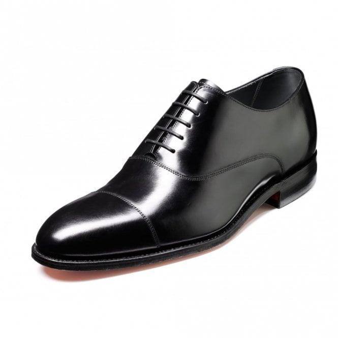 Barker Winsford Black Polished Leather Lace Up Oxford Shoe