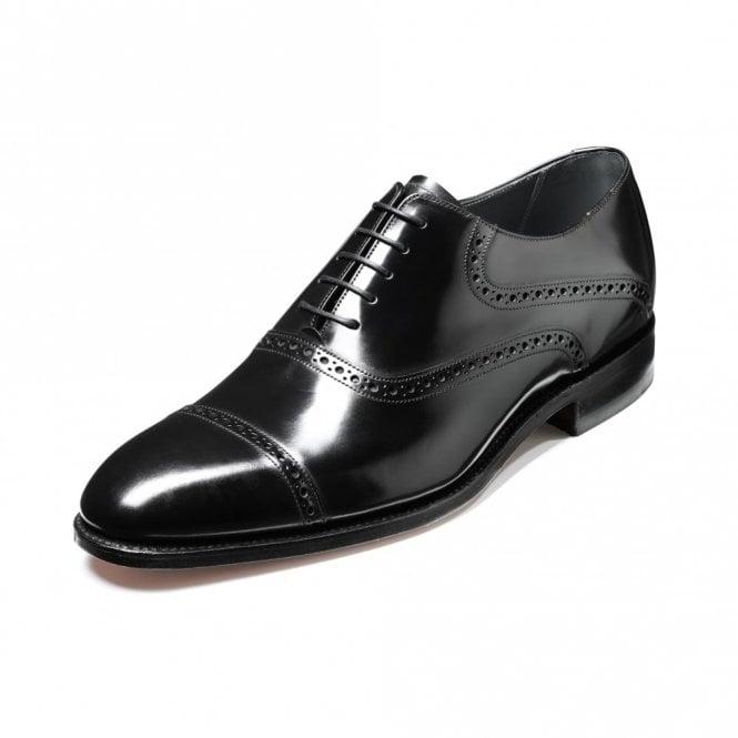 Wilton Polished Black Leather Lace Up Oxford Shoe