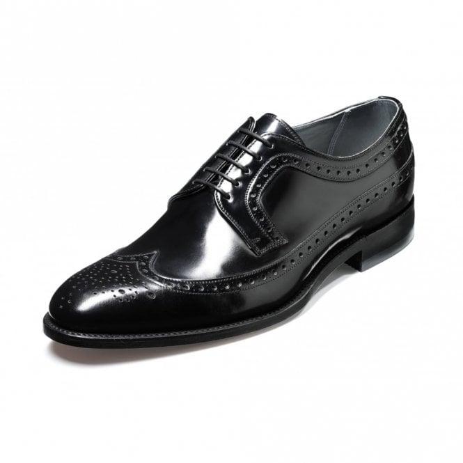 Barker Woodbridge Black Polished Leather Lace Up Brogue Shoe
