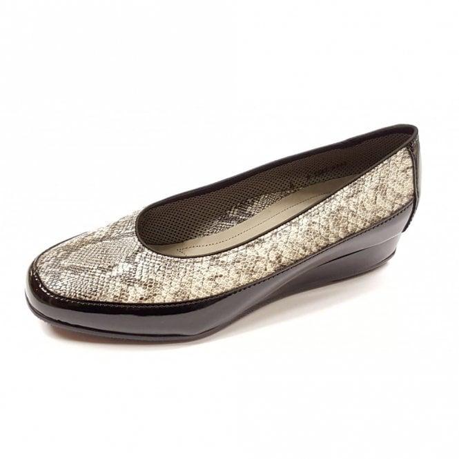 Ara 45030-97 Black Patent with Snake Print Wedge Shoe