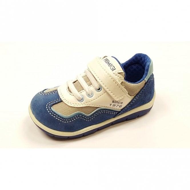 Primigi Win Blue Suede / White Leather Boy's Velcro Shoe