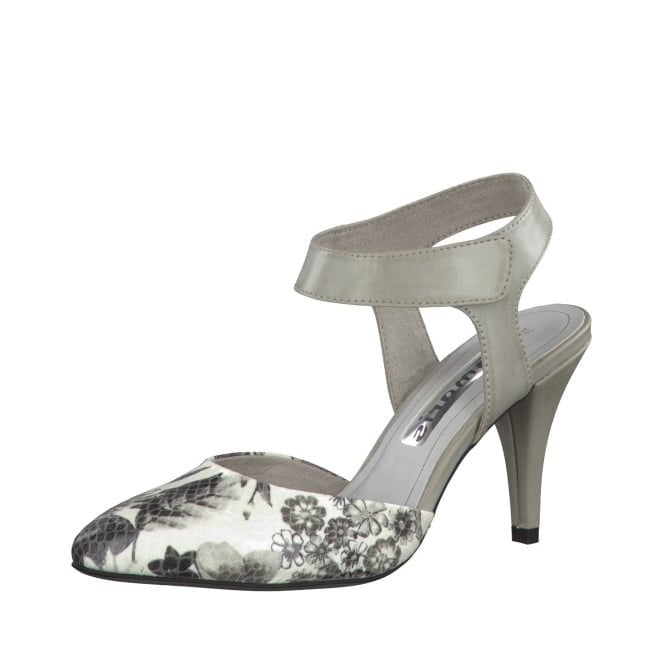 Tamaris 29605-26 Grey Synthetic Leather With Floral Print Sling Shoe