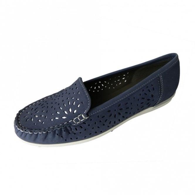 Ara 30865-08 Blue Nubuck Leather Loafer Shoe