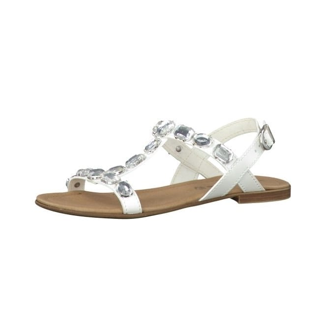 Tamaris 28159-26 White Sandal With Diamontes
