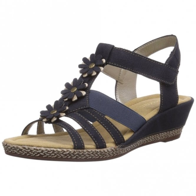 Rieker K3366-14 Navy Wedge Sandal with Flower Trim