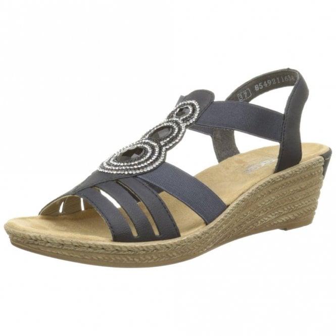 Rieker 62459-14 Navy Wedge Sandal with Diamonte Trim
