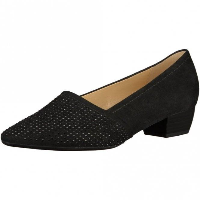 Gabor Azalea 55.134.17 Black Suede Court Shoe