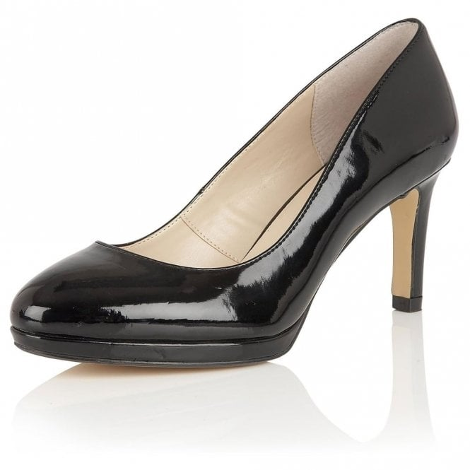 Lotus Calla Black Shiny Court Shoes