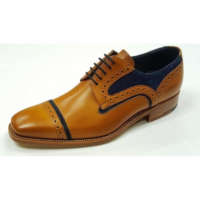 Barker Haig Cedar Leather / Blue Suede Lace Up Brogue Shoe