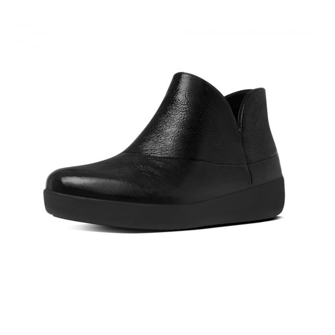 FitFlop Supermod Black Patent Ankle Boot