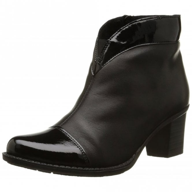 Rieker Z7664-00 Black Leather With Patent Toe Ankle Boot