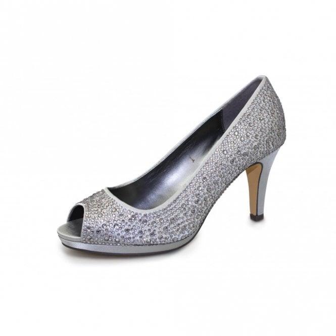 Lunar Melody FLR299 Grey/Silver Satin Shoe with Diamante