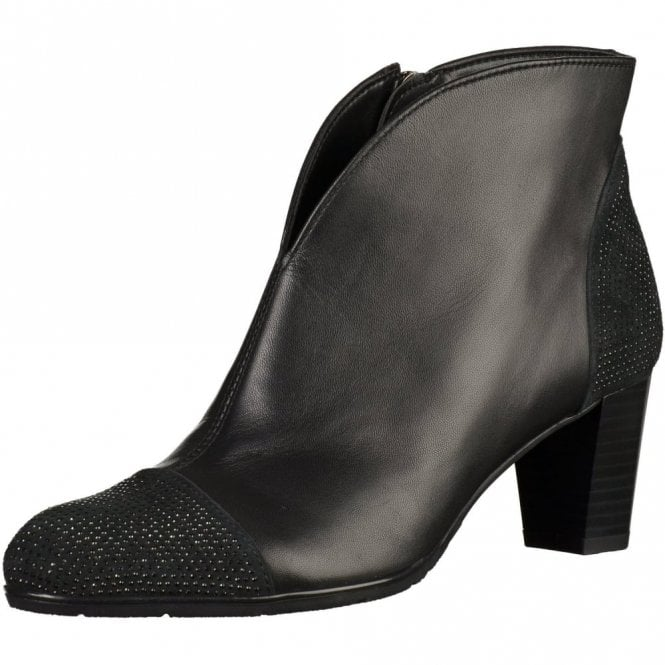 Ara 43457-71 Black Leather Ankle Boot