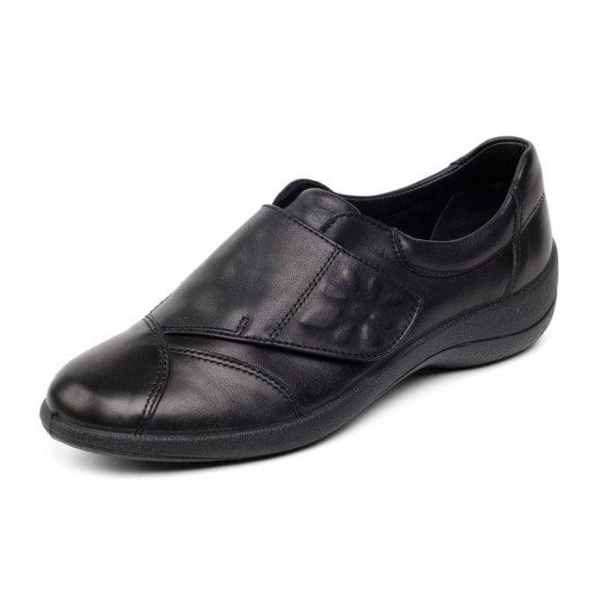 Padders Rose Black Leather Velcro Shoe