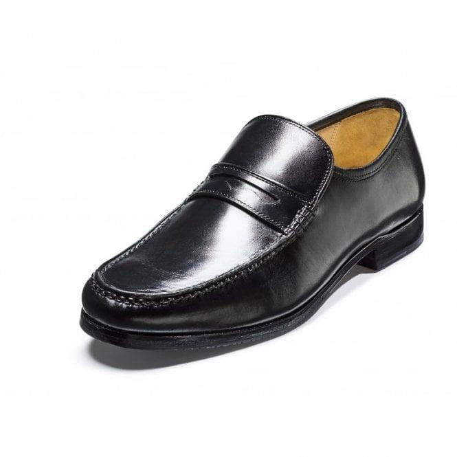 Barker Fergal Black Leather Moccasin Slip On Shoe