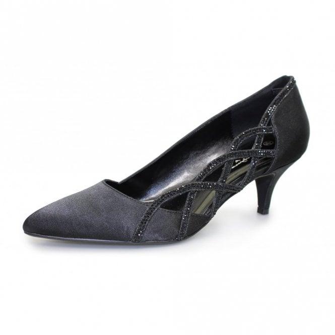 Lunar Honor FLR365 Black Satin Look Court Shoe