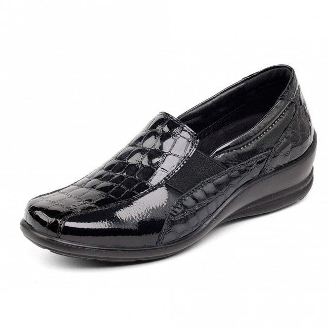 Padders Skye Black Patent Croc Velcro Shoe