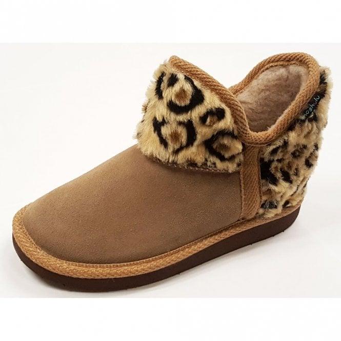 Moshulu Snowman Leopard Fabric Boot Slipper