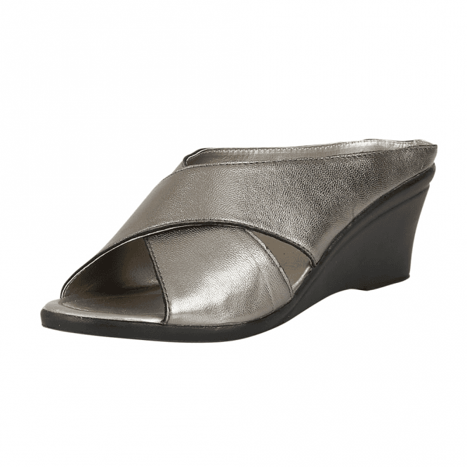 Lotus Trino Pewter Leather Open-Toe Mule Sandals