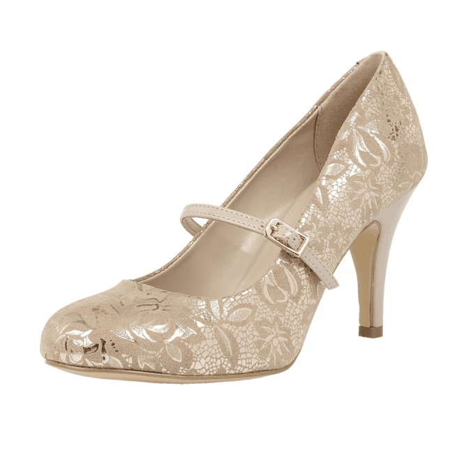 Lotus Fuzina Nude Floral Print Mary-Jane Court Shoes