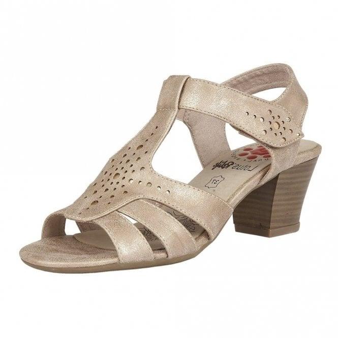 Lotus Relife Ember Rose Metallic Block Heel Sandals