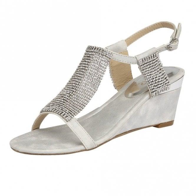 Lotus Klaudia Silver & Chainmail Wedge Sandals