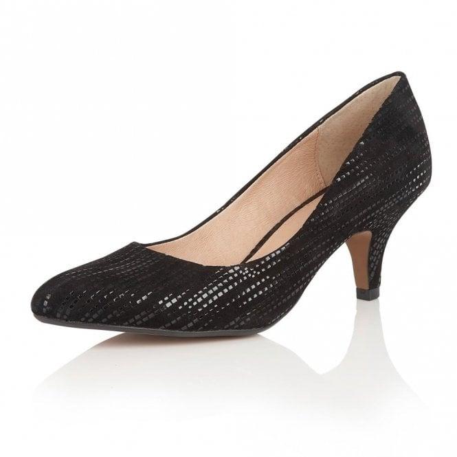 Lotus Dandelion Black Print Leather Court Shoes