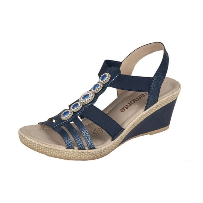 Remonte Dorndorf D0459-14 Navy Wedge Sandal With Jewel Trim