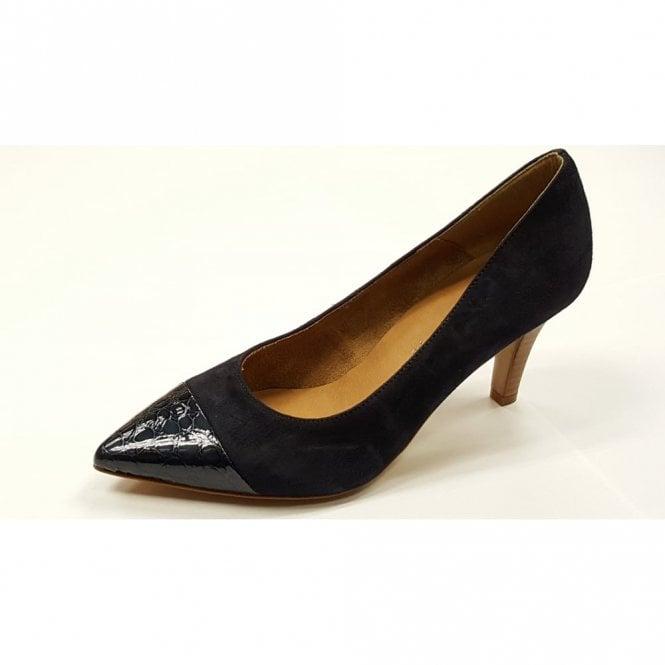 Tamaris 22412-28 Navy Suede With Croc Patent Toe Court Shoe