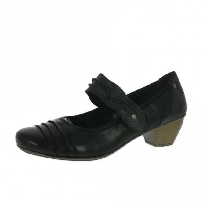 Rieker 41733-01 Black Leather Court Shoe